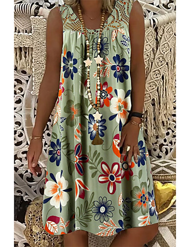 cheap Casual Dresses-Women's Plus Size Shift Dress - Sleeveless Floral Lace Print Summer Mumu Vacation Beach 2020 White Black Army Green Fuchsia Navy Blue S M L XL XXL XXXL XXXXL XXXXXL