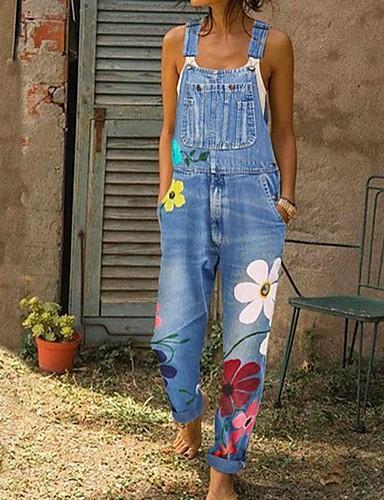 billiga Jumpsuits och byxdressar till damer-Dam Blå Grå Ljusblå Jumpsuits Onesie, Geometrisk S M L