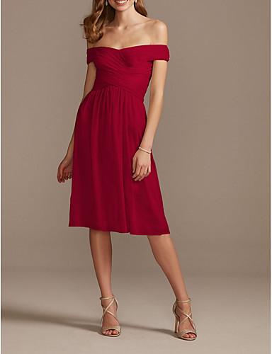 cheap Bridesmaid Dresses-A-Line Off Shoulder Knee Length Chiffon Bridesmaid Dress with Pleats / Draping