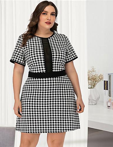 cheap Plus Size Dresses-Women's A-Line Dress Short Mini Dress - Short Sleeve Black & White Check Mesh Patchwork Sexy Streetwear Daily Going out Black L XL XXL XXXL XXXXL