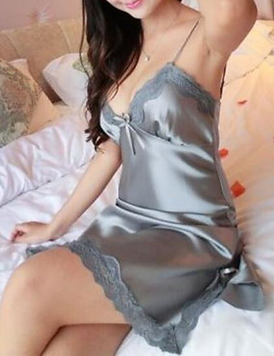 cheap Pajamas & Robes-Women's Lace Super Sexy Satin & Silk / Suits Nightwear Solid Colored Red Gray Purple S M L / Deep V