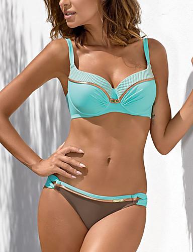 cheap Bikinis-Women's Plus Size Basic Boho Bikini Swimwear Swimsuit - Color Block Solid Colored S M L Light Blue White Black Red Blushing Pink
