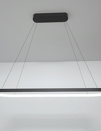 billige Anheng Lys-led 40w rektangel pendellampe aluminiums svartmalte finish / moderne lampe for spisestue resturant kaffebar / varm hvit / hvit / dimbar med fjernkontroll / wifi smart fungerer med google home alexa