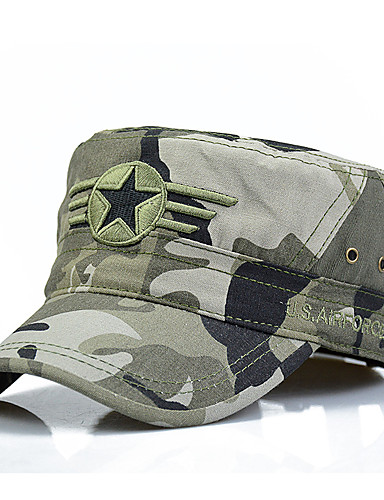 cheap Men's Hats-Men's Work Cotton Baseball Cap Sun Hat Military Hat-Solid Colored Camouflage Stylish Green Black Army Green