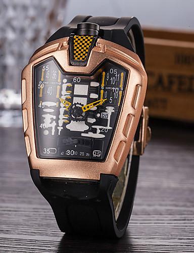 billige Digitale klokker-Herre Hverdagsklokke Moteklokke Unike kreative Watch Quartz Fritid Vannavvisende Silikon Svart Analog-digital - Rød Blå Grønn / Kalender