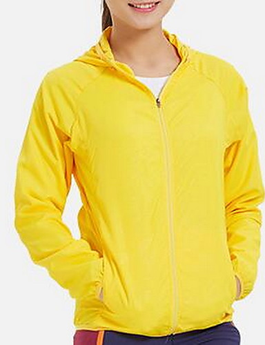 Women's Daily Basic Summer Regular Jacket, Solid Colored Hooded Long Sleeve Polyester Yellow / Blushing Pink / Fuchsia