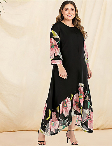 cheap Plus Size Dresses-Women's A-Line Dress Maxi long Dress - Long Sleeve Floral Solid Color Ruffle Patchwork Print Spring & Summer Fall & Winter Casual Boho Daily Beach Flare Cuff Sleeve Black L XL XXL