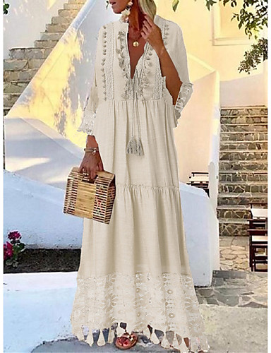 cheap Boho Dresses-Women's Maxi Dress - 3/4 Length Sleeve Tassel Lace Spring & Summer Deep V Casual Boho Holiday Vacation Beach Loose Yellow Blushing Pink Beige Light Blue S M L XL XXL XXXL XXXXL