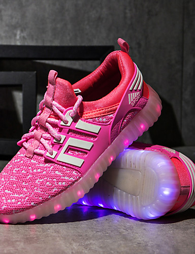 cheap Kid's Led Shoes Hot Sale-Boys' / Girls' Comfort / LED Shoes / USB Charging Knit Sneakers Lace up Little Kids(4-7ys) / Big Kids(7years +) Walking Shoes LED / Luminous Black / Fuchsia / Pink Spring / Fall