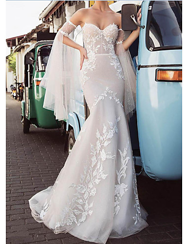 cheap Wedding Dresses-Mermaid / Trumpet Wedding Dresses Strapless Sweep / Brush Train Lace Tulle Long Sleeve Strapless Country Plus Size with Lace Embroidery 2020