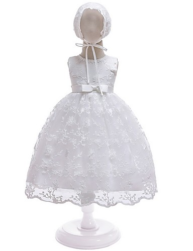 cheap Christening Gowns-A-Line Floor Length First Communion Christening Gowns - Polyester Sleeveless Jewel Neck with Lace / Bow(s)