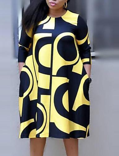 cheap Plus Size Dresses-Women's Shift Dress Midi Dress - 3/4 Length Sleeve Plaid Letter Plus Size Streetwear Sophisticated Cotton White Purple Yellow Blushing Pink XL XXL XXXL XXXXL