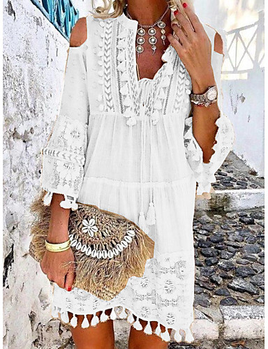 cheap Boho Dresses-Women's Mini Shift Dress - 3/4 Length Sleeve Lace Tassel Fringe Cold Shoulder Summer Deep V Casual Boho Holiday Vacation Beach 2020 White Blue Yellow Blushing Pink Beige S M L XL XXL XXXL