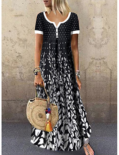 cheap Pretty Dresses Best Seller-Women's Maxi Black & White Dress - Short Sleeves Leaf Print Summer Casual Holiday Vacation High Waist 2020 Black M L XL XXL XXXL