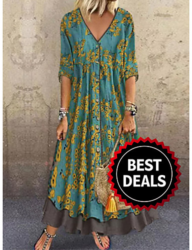 Women's 2020 Maxi Red Green Dress Casual Spring & Summer Holiday Vacation A Line Floral Print Deep V Layered Print M L Loose
