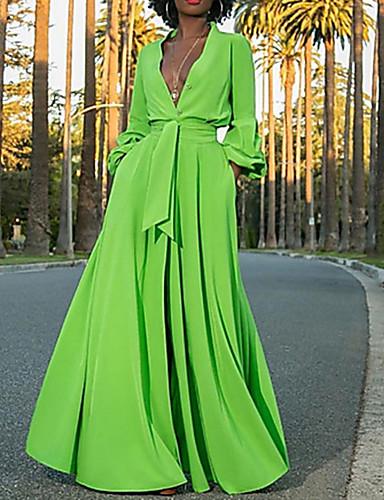 abordables Jusqu'à -90 %-Femme Robe Trapèze Maxi Manches Longues Chic de Rue Couleur Pleine V Profond Vert S M L XL XXL