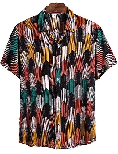 cheap Men's Shirts-Men's Graffiti Shirt Tropical Hawaiian Daily Beach Button Down Collar Rainbow / Short Sleeve