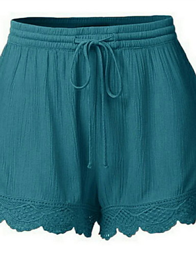 cheap Women's Shorts-Women's Basic Shorts Pants - Solid Colored Wine Orange Blue S M L