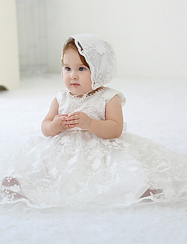 cheap Christening Gowns-Ball Gown Floor Length First Communion Christening Gowns - Polyester Sleeveless Jewel Neck with Lace / Bow(s)