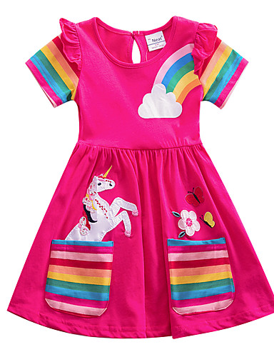 cheap Unicorn Dresses-Kids Girls' Flower Cute Blue & White Blue Red Striped Rainbow Cartoon Embroidered Pleated Short Sleeve Knee-length Dress Blue