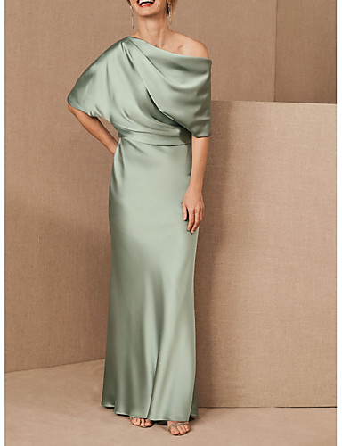 cheap Mother of the Bride Dresses-Sheath / Column Mother of the Bride Dress Elegant One Shoulder Floor Length Charmeuse Half Sleeve with Draping 2020