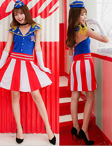 cheap Career & Profession Costumes-Cheerleader Adults' Women's Dress Cosplay Costume Outfits For Polyster Masquerade Dress