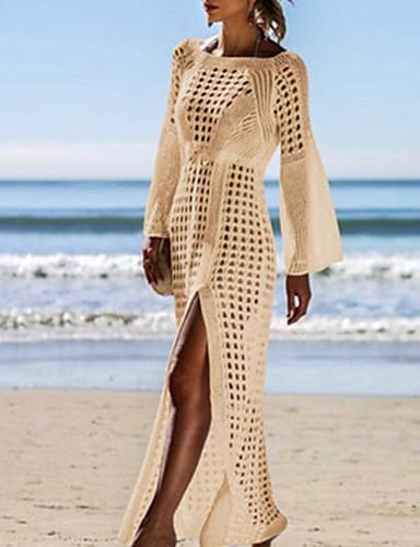 cheap Women's Swimwear-Women's Black White Beige Cover-Up Swimwear Swimsuit - Solid Colored One-Size Black