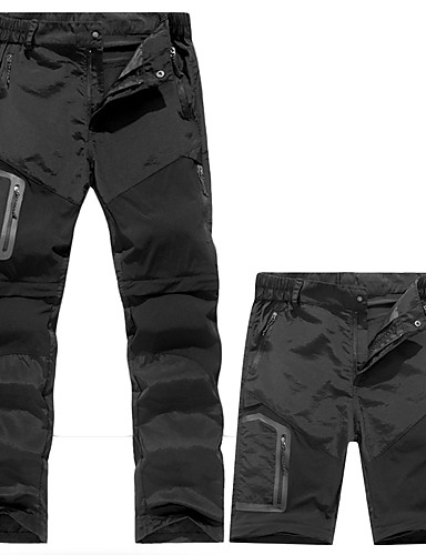 cheap Hiking Trousers & Shorts-Men's Hiking Pants Convertible Pants / Zip Off Pants Summer Outdoor Waterproof Windproof Breathable Quick Dry Pants / Trousers Convertible Pants Bottoms Running Camping / Hiking Hunting Black Army