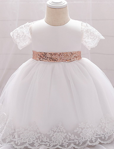 cheap Christening Gowns-Ball Gown Floor Length Wedding / Party Christening Gowns - Lace / Satin / Tulle Sleeveless Jewel Neck with Bow(s) / Paillette