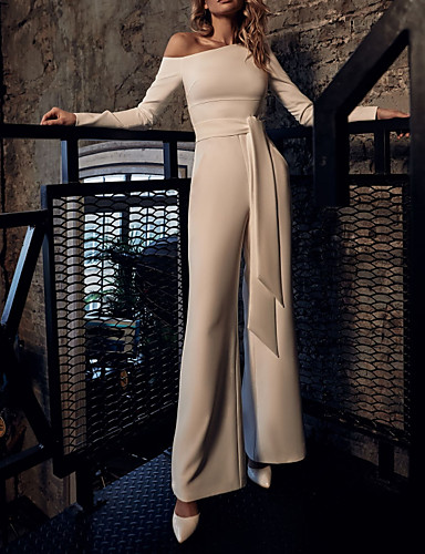 cheap Prom Dresses-Jumpsuits Elegant White Wedding Guest Prom Dress One Shoulder Long Sleeve Floor Length Stretch Satin with Sash / Ribbon 2020