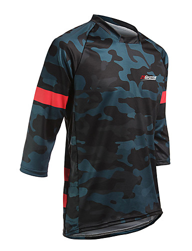 cheap Cycling Jerseys-21Grams Men's Long Sleeve Cycling Jersey Downhill Jersey Dirt Bike Jersey Spandex Polyester Yellow Red Camo / Camouflage Bike Jersey Top Mountain Bike MTB Road Bike Cycling UV Resistant Breathable