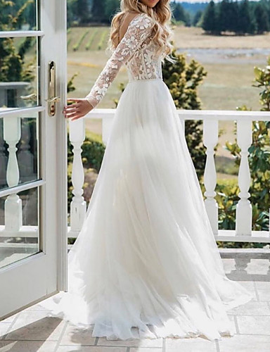 cheap Wedding Dresses-A-Line Wedding Dresses V Neck Sweep / Brush Train Polyester Long Sleeve Sexy Plus Size with Lace Embroidery 2020