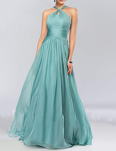 cheap Bridesmaid Dresses-A-Line Halter Neck Floor Length Chiffon Bridesmaid Dress with Pleats / Draping