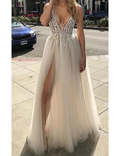 cheap Prom Dresses-A-Line Sexy White Engagement Prom Dress V Neck Sleeveless Floor Length Tulle with Beading Split 2020