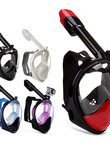 hesapli yaz indirimi-Dalış Maskeleri Tam Yüz Maskeleri 180 Derece GoPro Uyumlu Buğulanmaz Kuru Üst Tek Pencere - Yüzme Dalış Şnorkelcilik Scuba Silika Jel - Uyumluluk Yetişkinler Mor Kırmzı Turuncu Mavi Beyaz