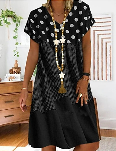 hesapli Yeni Gelenler-Kadın's Büyük Bedenler A Şekilli Elbise - Kısa Kol Yuvarlak Noktalı Desen Yaz Günlük Tatil Seyahat Salaş 2020 Siyah YAKUT Sarı S M L XL XXL XXXL XXXXL XXXXXL