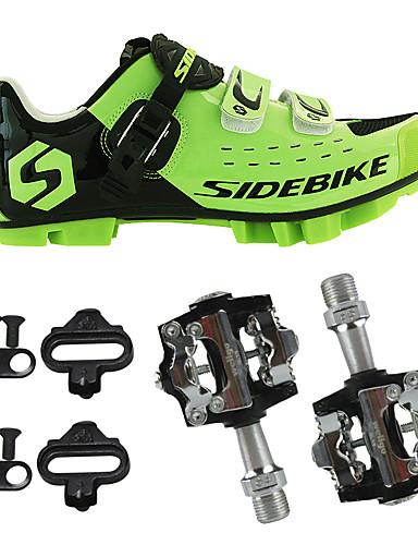 Χαμηλού Κόστους εκρηκτική προσφορά εκποίησης-SIDEBIKE Ενηλίκων Παπούτσια ποδηλασίας με πετάλι και στήριγμα Παπούτσια για ποδήλατα εκτός δρόμου Νάιλον Προστατευτική Επένδυση Ποδηλασία Πράσινο / Μαύρο Ανδρικά Παπούτσια Ποδηλασίας
