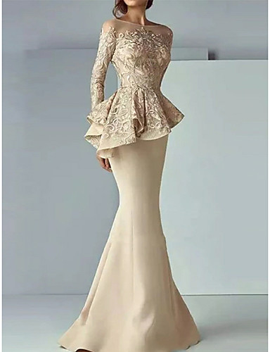 cheap Special Occasion Dresses-Mermaid / Trumpet Peplum Wedding Guest Formal Evening Dress Illusion Neck Long Sleeve Sweep / Brush Train Satin with Lace Insert 2020