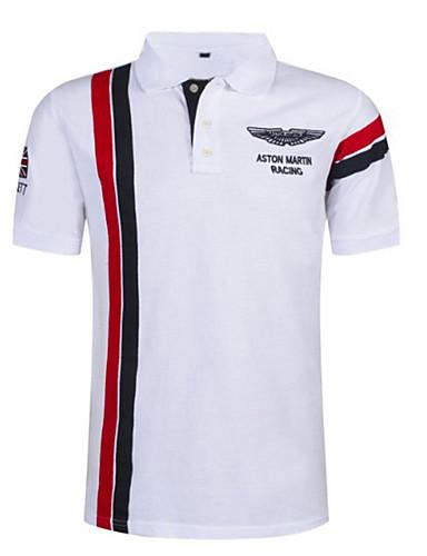 저렴한 남성 폴로-남성용 컬러 블럭 스트라이프 슬림 Polo 셔츠 카라 화이트 / 루비 / 네이비 블루