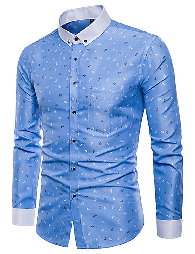 Men's Plus Size Geometric Houndstooth Blue & White Print Shirt Basic Punk & Gothic Party Daily Button Down Collar White / Blushing Pink / Light Green / Light Blue / Long Sleeve