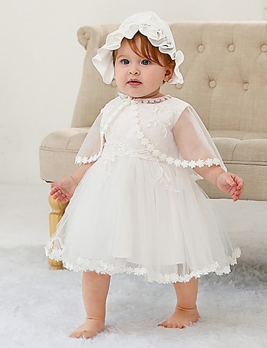 cheap Christening Gowns-A-Line Ankle Length First Communion Christening Gowns - Polyester Sleeveless Jewel Neck with Lace / Bow(s)