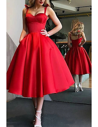 cheap Special Occasion Dresses-Ball Gown Minimalist Red Party Wear Prom Dress Spaghetti Strap Sleeveless Tea Length Satin with Pleats 2020