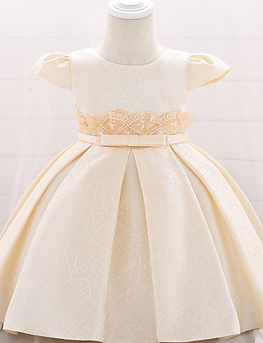 cheap Christening Gowns-Ball Gown Floor Length Birthday / Event / Party Christening Gowns - Lace / Mikado Short Sleeve Jewel Neck with Bow(s)