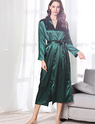 cheap Pajamas&Robes-Women's Lace Chemises & Gowns Nightwear Solid Colored Wine Blushing Pink Green M L XL