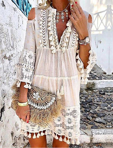 cheap Boho Dresses-Women's Boho / Beach Yellow Orange Dress Casual Boho Spring & Summer Holiday Vacation Beach Shift Solid Colored Deep V Lace Tassel Fringe S M