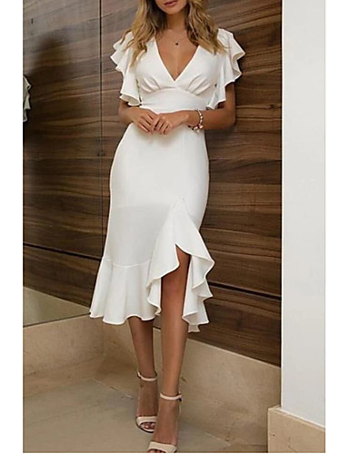 cheap Special Occasion Dresses-Sheath / Column Sexy White Homecoming Cocktail Party Dress V Neck Short Sleeve Asymmetrical Polyester with Ruffles 2020