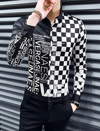 abordables Vêtements Homme-Homme Chemise Géométrique Mince Hauts Basique Col Classique Blanche Noir / Manches Longues
