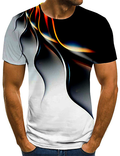 billige Herreklær-Herre T skjorte 3D-utskrift Grafisk Geometrisk 3D Store størrelser Trykt mønster Kortermet Ferie Topper Gatemote overdrevet Svart Blå Lilla