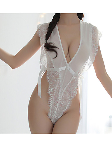 Ladies Sexy Halter Backless Lace Triangle Bodysuit