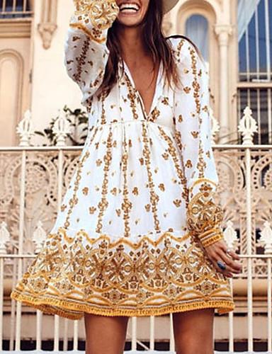 Χαμηλού Κόστους Για νεαρές γυναίκες-Γυναικεία Κίτρινο Φόρεμα Θήκη Στάμπα Τ M